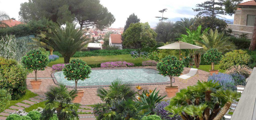 Villetta Con Piscina Sulle Colline Di Bordighera Ercole Progettazione Paesaggio